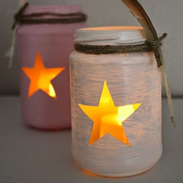 Свечи в банке с декором