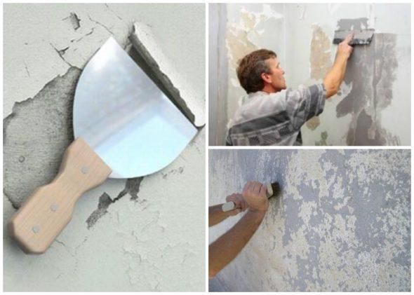 Механическое удаление краски со стены