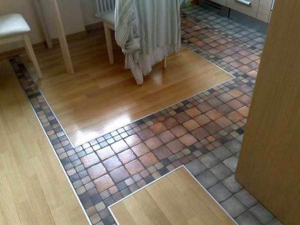 линолеум и плитка на кухне