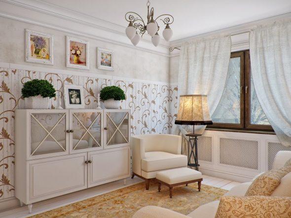 Интерьер с картинами на стенах