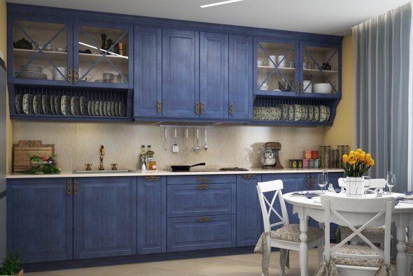 Тёмно-синяя кухня