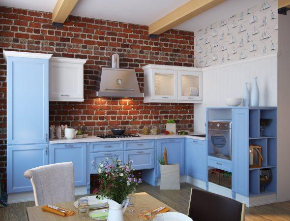 Синяя кухня с кирпичной стеной