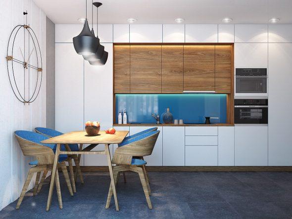 Кухня с синими акцентами