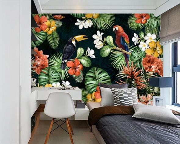 Интерьер спальни с тропическими обоями