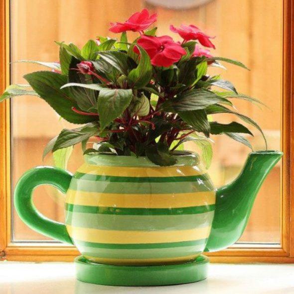 Цветочный горшок из чайника