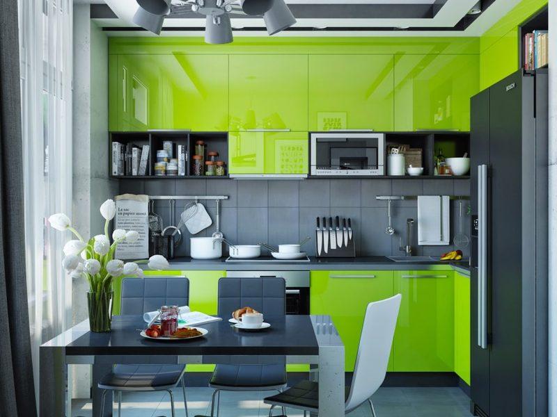 Зелёная кухня в интерьере: интересные примеры на фото