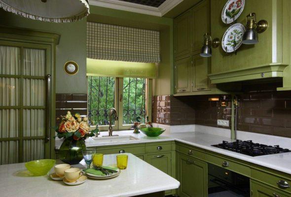 Кухня в оливковом цвете