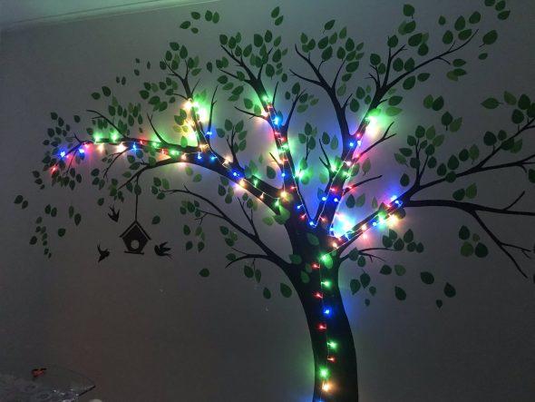 Деревья на обоях с подсветкой