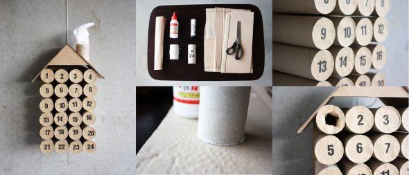Адвент-календарь из втулок от туалетной бумаги
