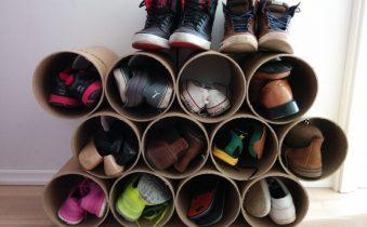 Обувная полка из коробок