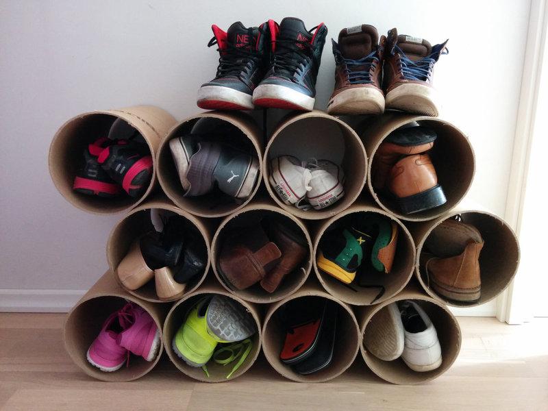Обувная полка из коробок: максимум экономии