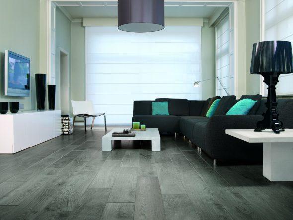 Тёмный серый пол в гостиной