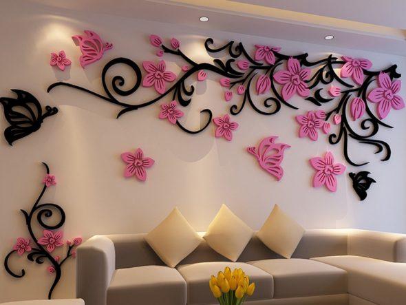 Что можно сделать из пенопласта — декор стены