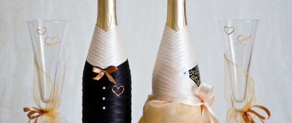 украшение шампанского лентами