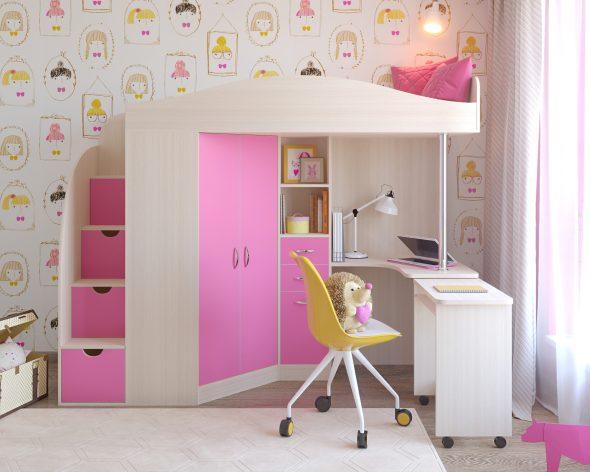 Кровать-чердак со шкафоми столом