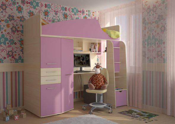 Кровать-чердак в детской для девочки