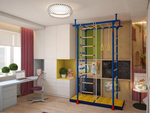 Спортивный уголок в интерьере комнаты в хрущёвке