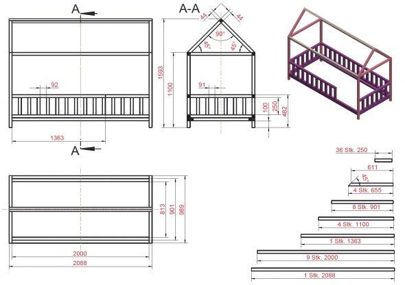 Размеры кровати-домика