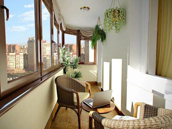 Балкон с плетёнными креслами