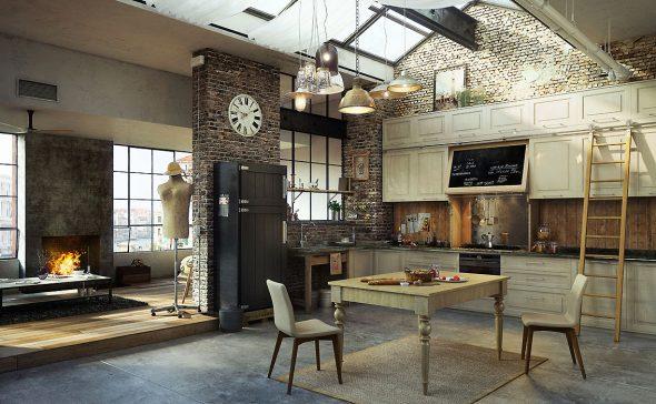 Лампы и светильники на просторной кухне