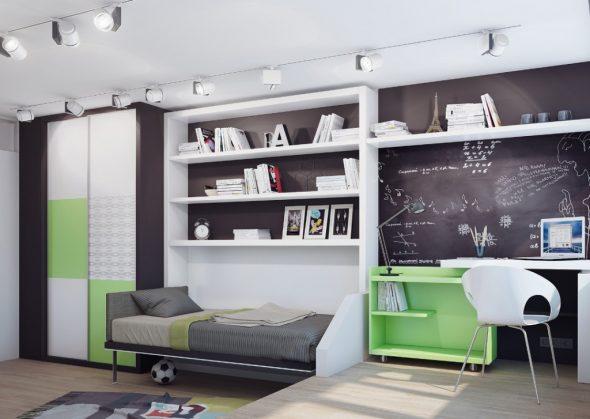 Комната мальчика в бело-зелёной цветовой гамме