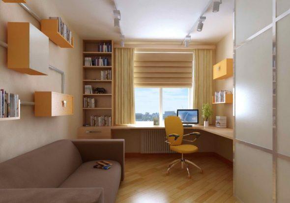 Подростковая комната с диваном и комрьютером