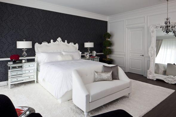 Чёрные стены в спальне с белой мебелью