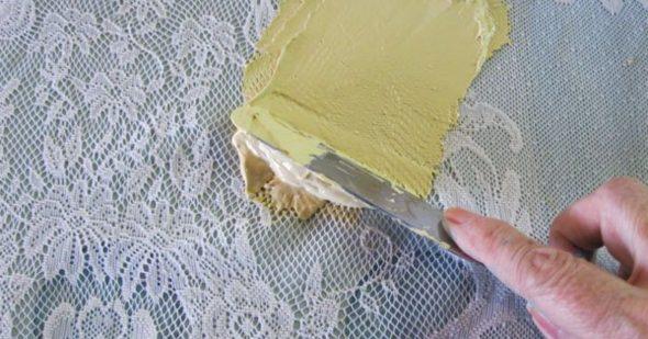 Покраска стены через тюль