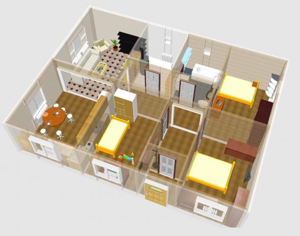 План одноэтажного дома с тремя спальнями