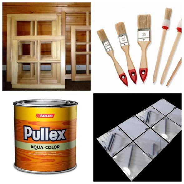 Инструменты и материалы для фальш-окна из зеркала