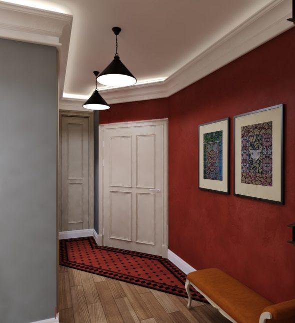 Однотонные акценты в коридоре