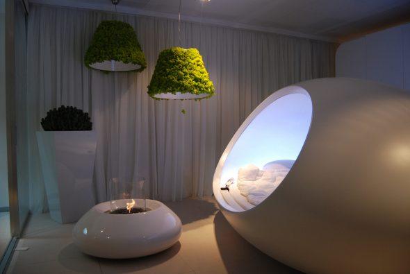 Лампы, декорированные стабилизированным мхом