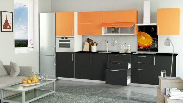 Кухня в чёрно-оранжевом оформлении