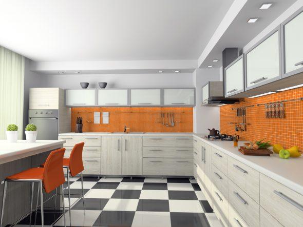Мелкая оранжевая плитка