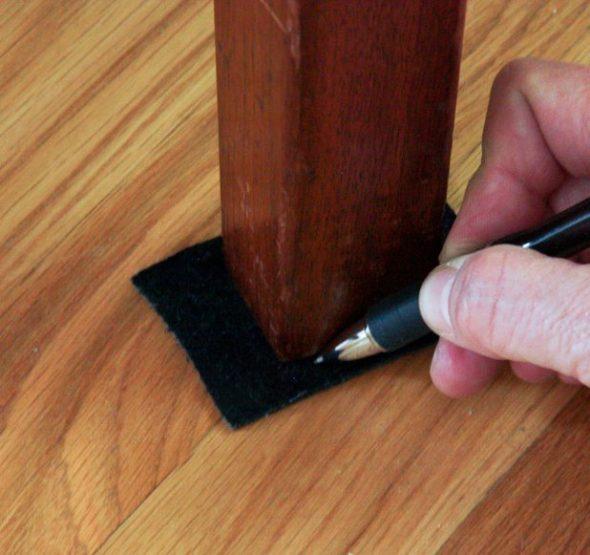 Разметка размера ножки мебели