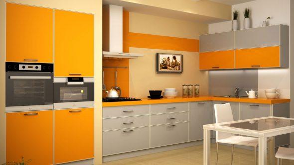 Серые оттенки на оранжево-белой кухне