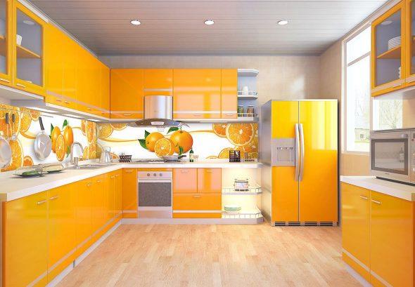 Яркая апельсиновая кухня