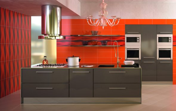 Красно-оранжевый цвет на кухне