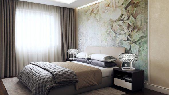 Оформление стены в спальне обоями