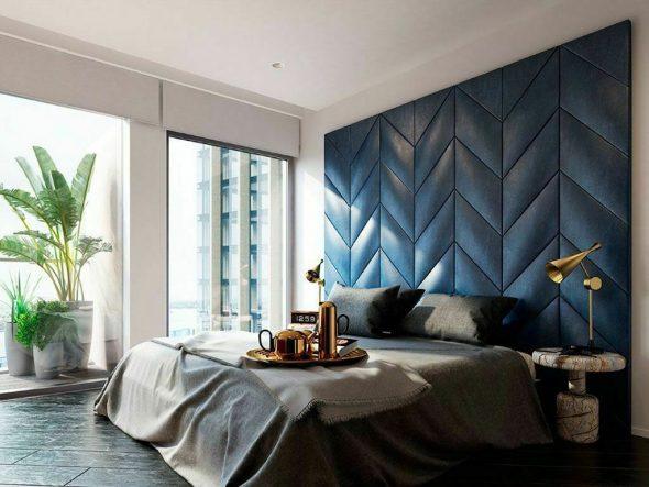 Оформление стены за кроватью 3D панелями