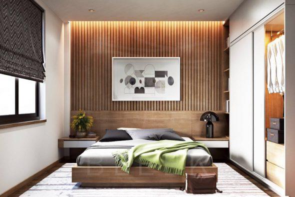 Оформление стены за кроватью деревом