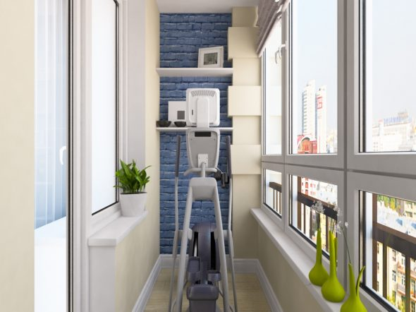 Эллиптический тренажёр на балконе