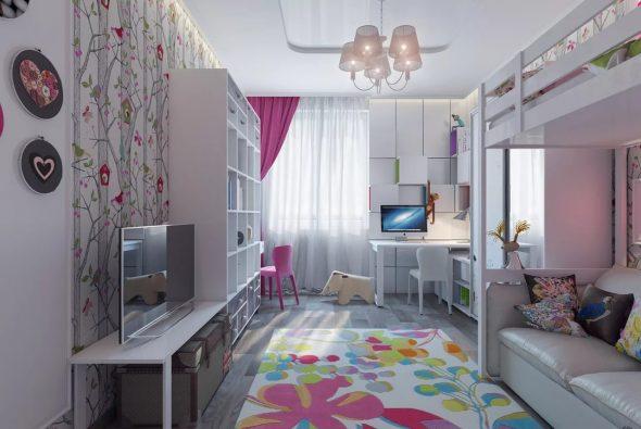 Двухъярусная кровать в комнате