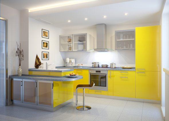 Жёлтая кухня и серая столешница