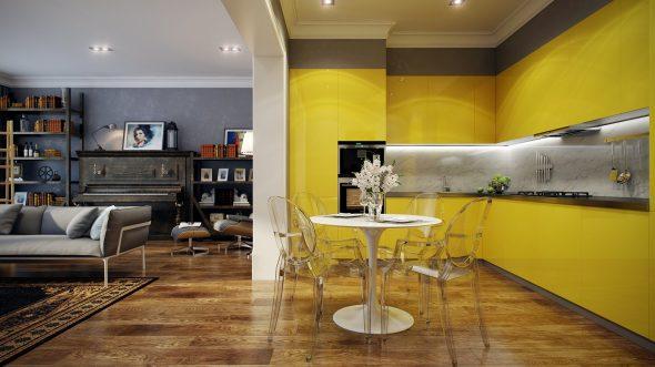 Жёлтая кухня в интерьере