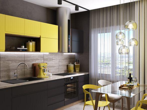 Жёлто-чёрная кухня
