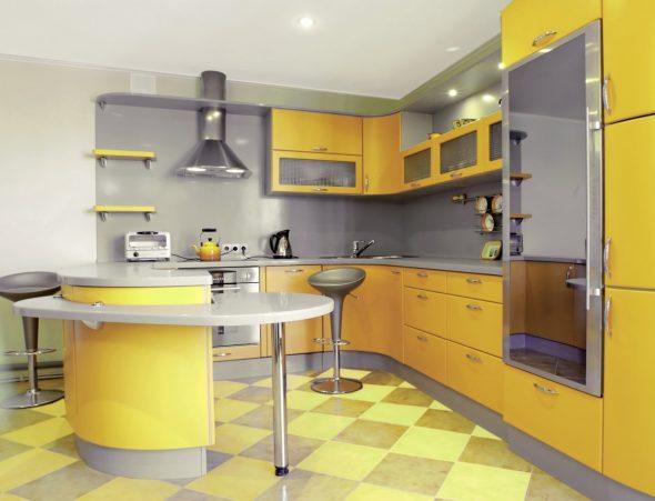 Кухня в жёлтом и сером цвете