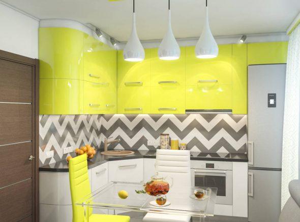 Кухня в жёлтом, белом и сером цвете