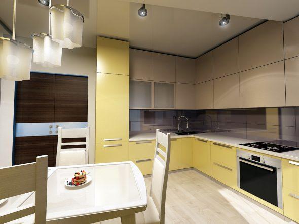 Жёлтая кухня с кремовыми вставками
