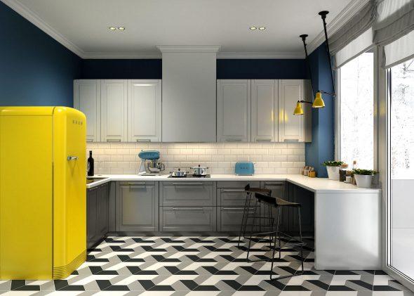 Жёлтый холодильник на кухне